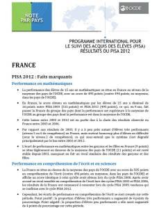 Couverture resume francais PISA2012