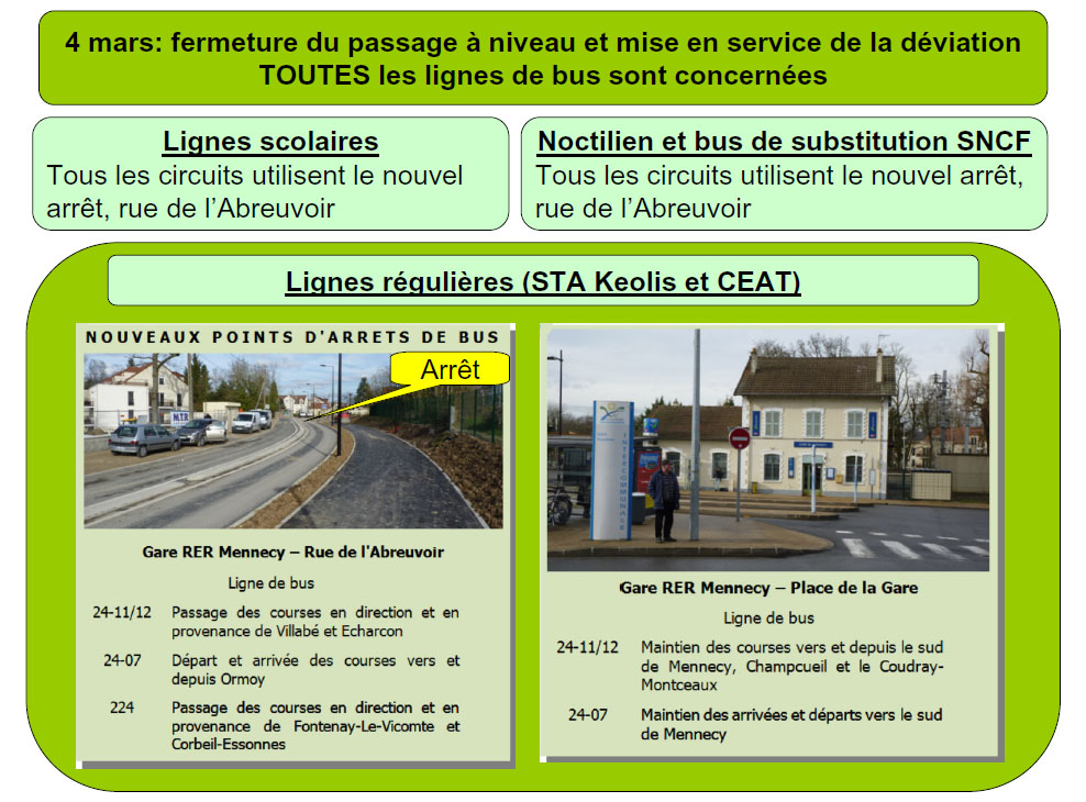 Affiche nouvel arret gare de Mennecy
