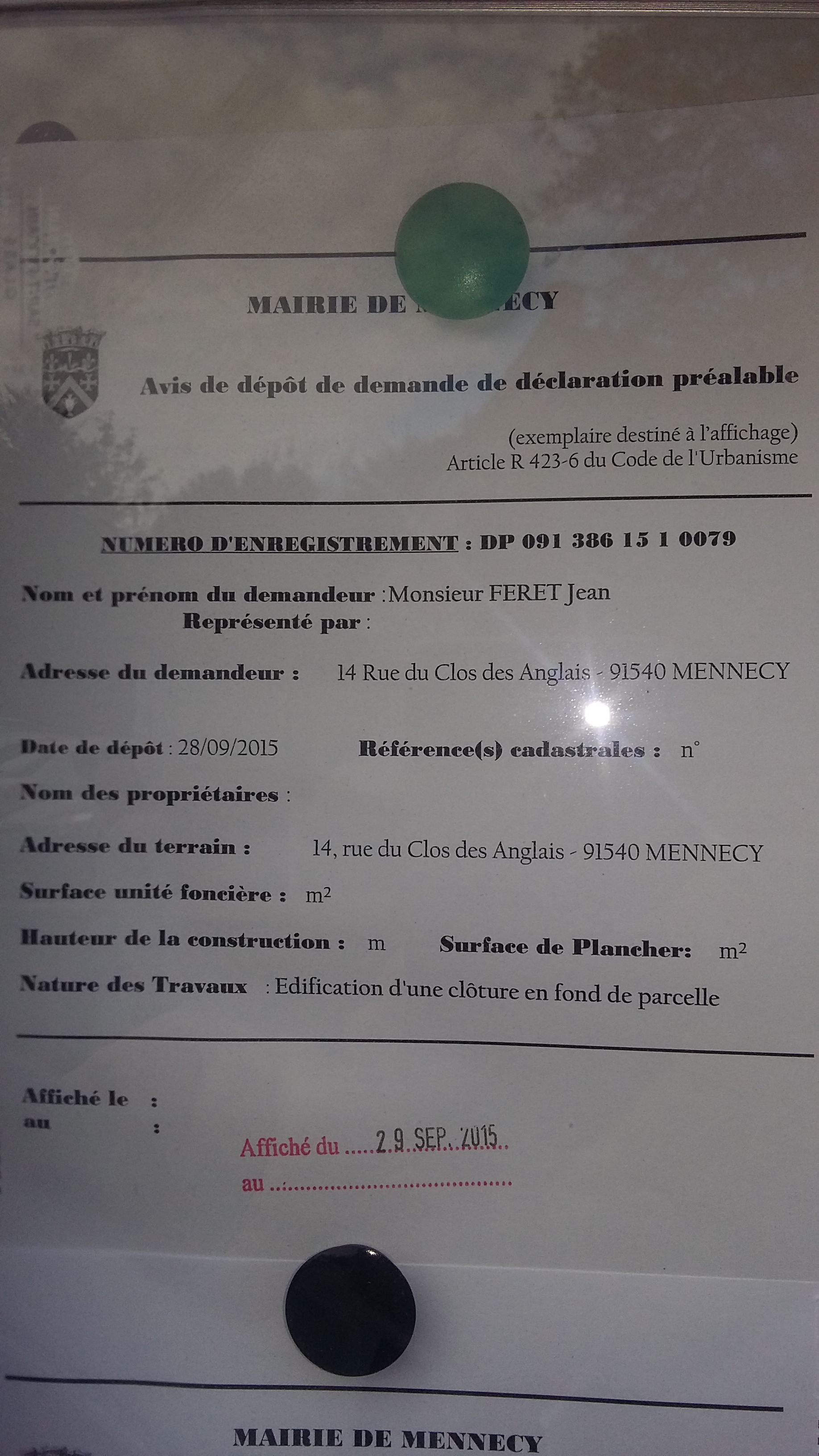65 pages de d claration pr alable pour 20 m tres de grillage le blog de jean f ret mennecy - Panneau declaration prealable ...