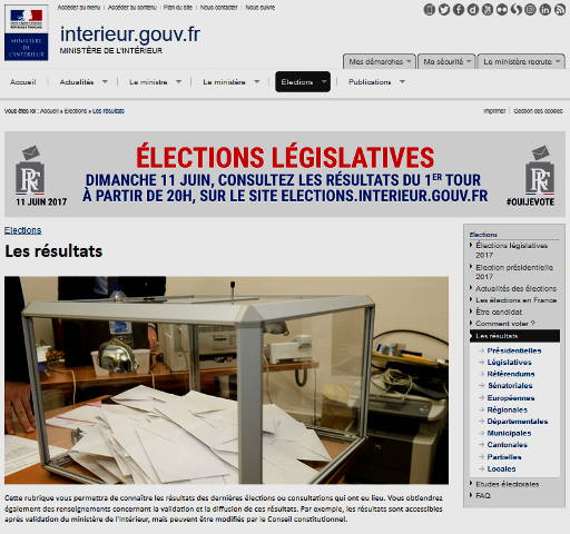 L gislatives 2017 r sultats 1er tour mennecy et sur le for Elections ministere interieur